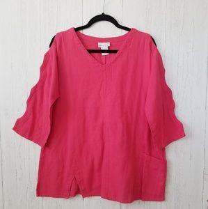 Soft Surroundings 3/4 Sleeve Cotton V-Neck Tunic